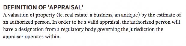 Appraisal definition