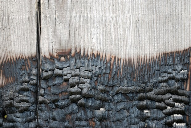 home safety - fire charred wood