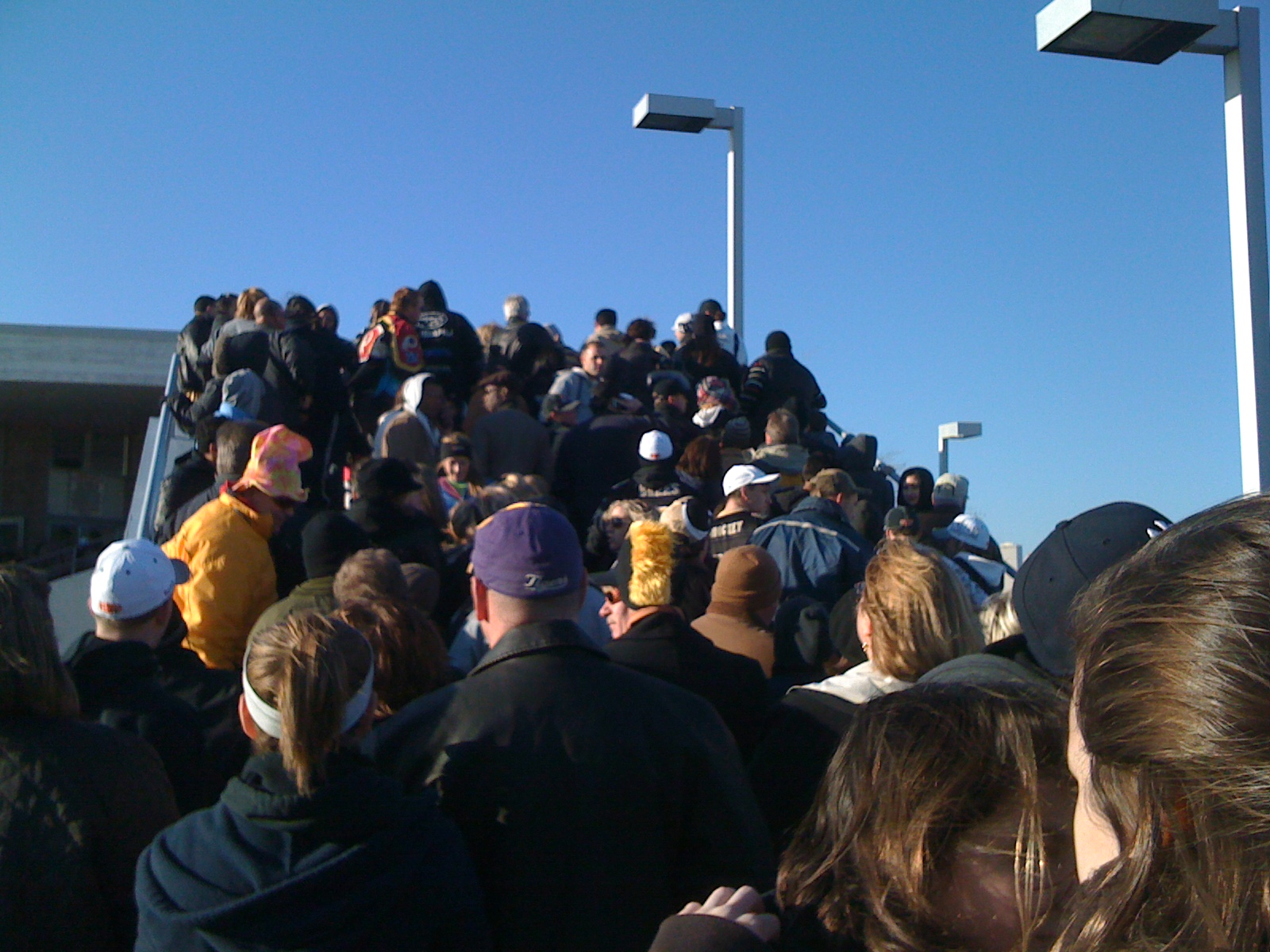 Waiting for the ferry and the New Orleans Super Bowl Parade