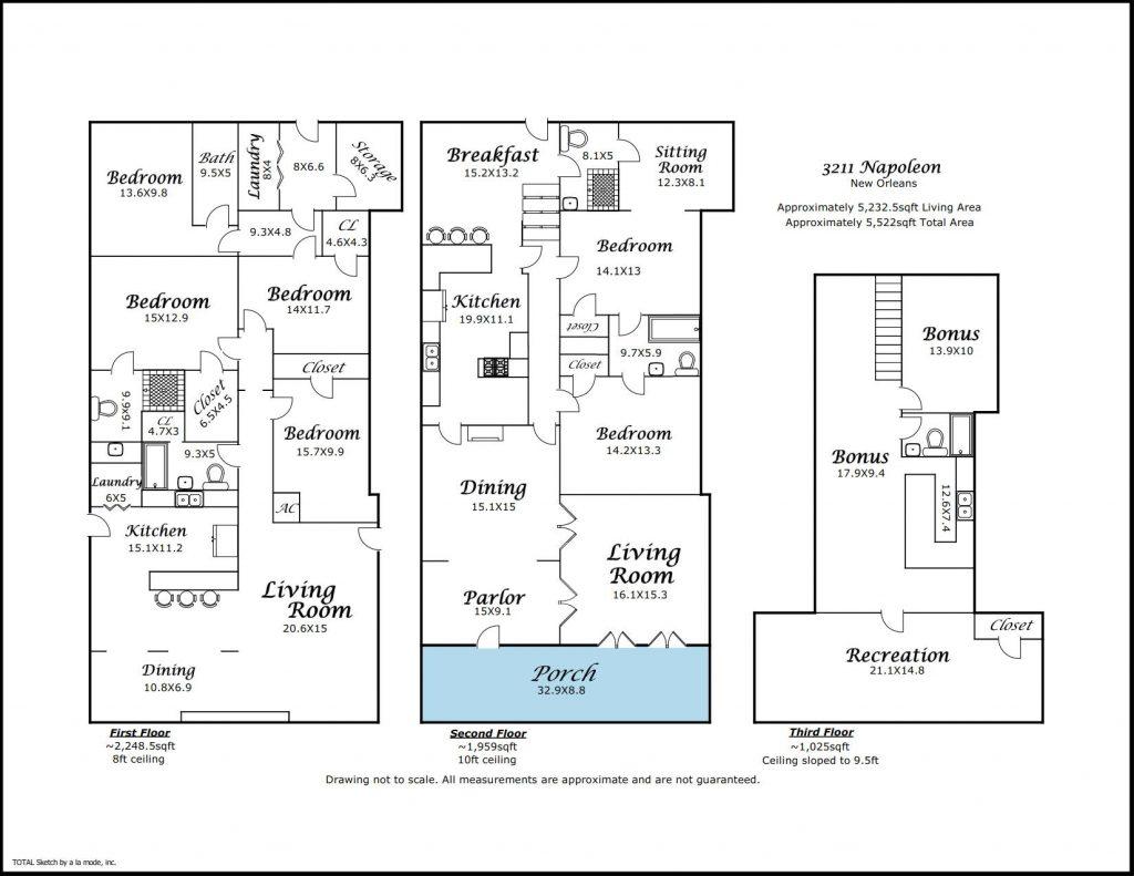Floorplan for 3211 Napoleon Ave New Orleans LA
