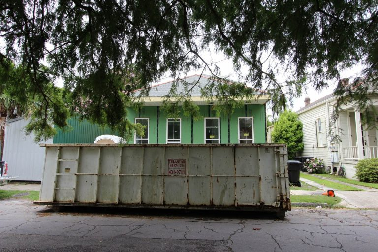 reporting new orleans neighborhood issues - dumpster in street