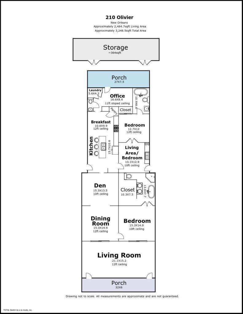 New Orleans B&B - floorplan for 210 Olivier St, New Orleans LA
