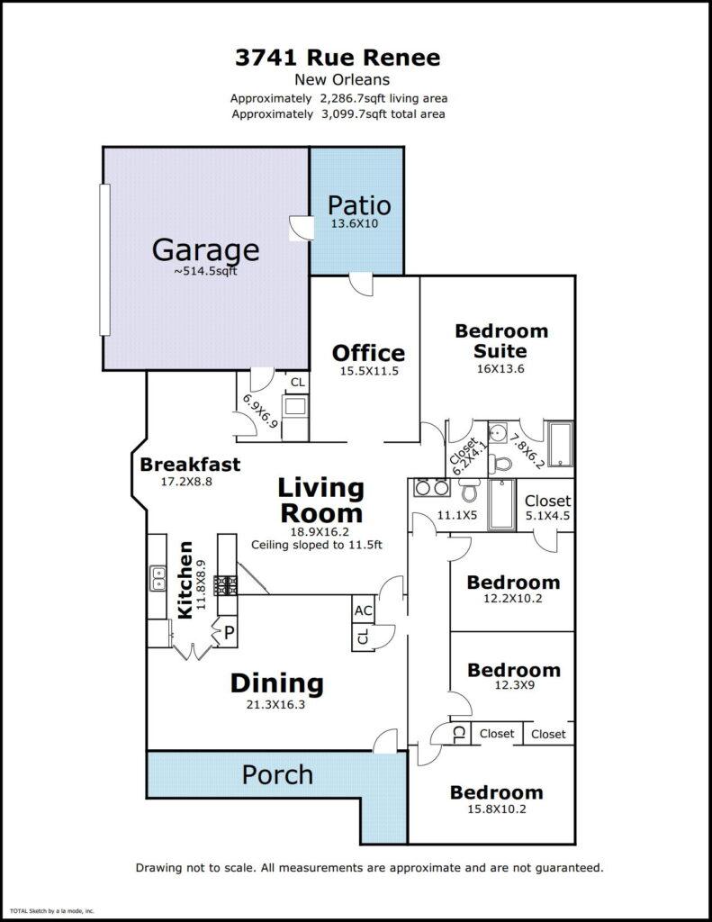 3741 Rue Renee, New Orleans LA floorplan