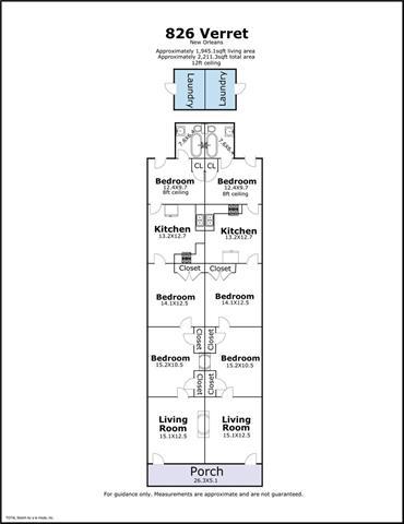 826-828 Verret floor plan